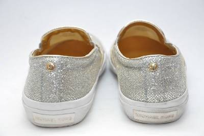 KORS Boerum Silver Glitter MK Logo Slip On Sneakers Womens Shoes 9 M