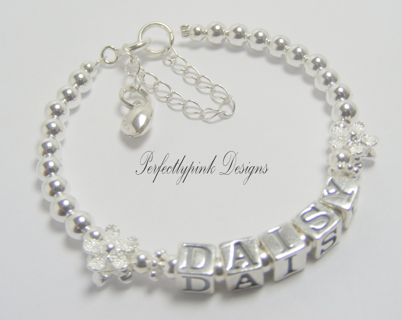 sterling silver baby christening bracelet personalised any