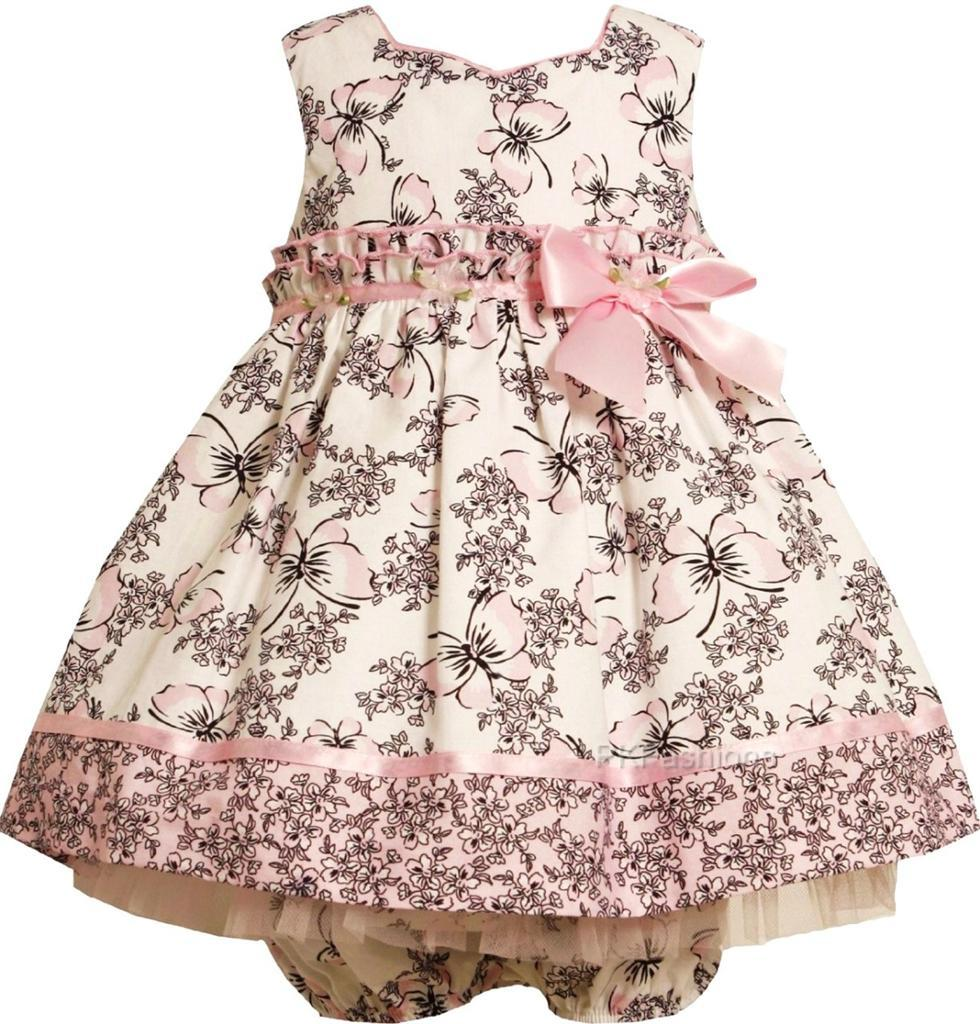 """New Baby Girls """"Pink Black Butterfly Toile"""" Size 12M 2pc Dress Clothes"""