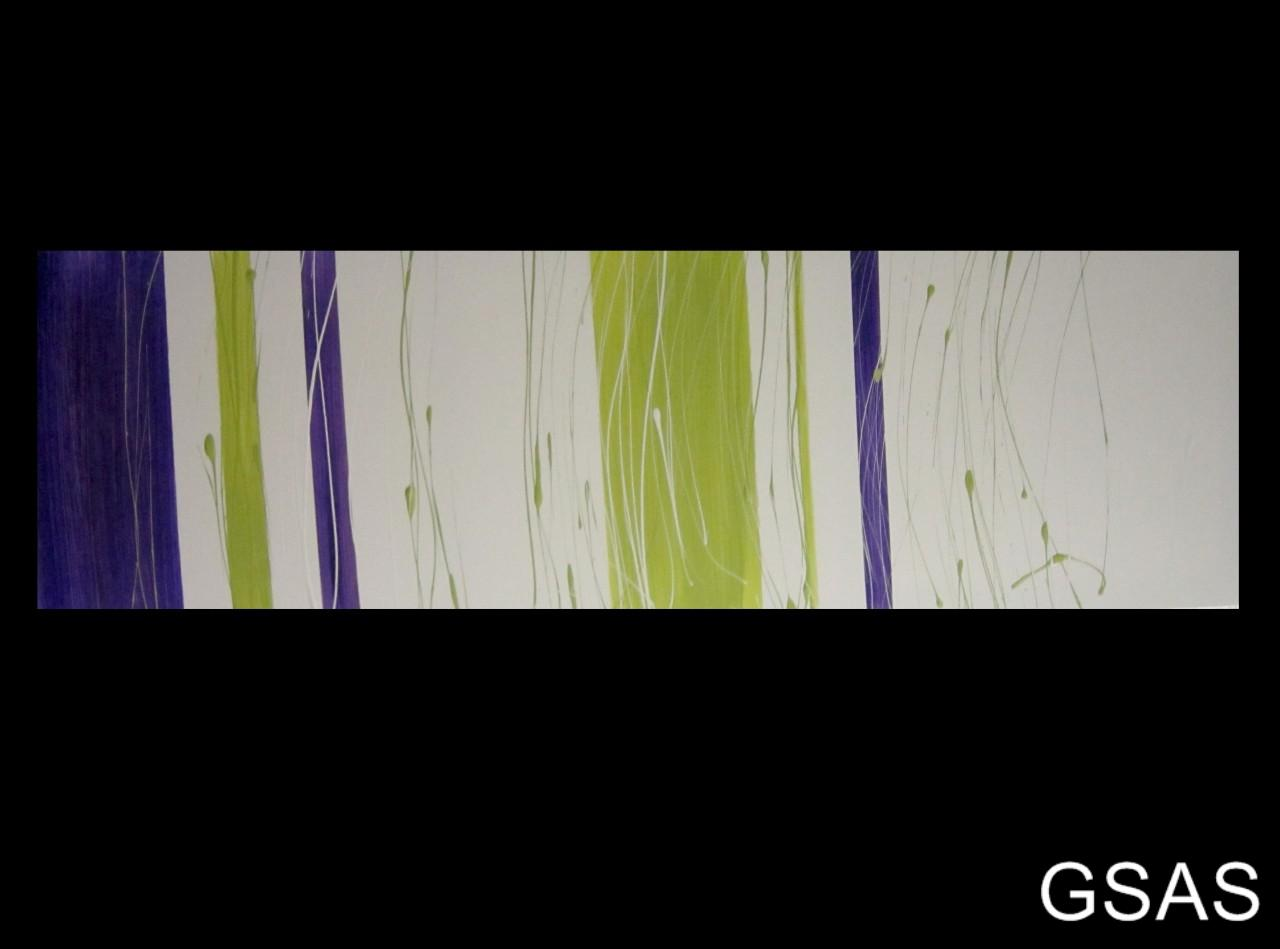 Abstract Canvas Painting Purple White Lime Green Modern