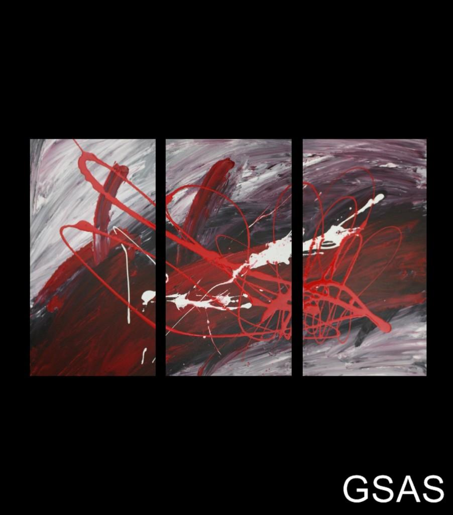 3 original abstract canvas painting red black white for Abstract painting on black canvas
