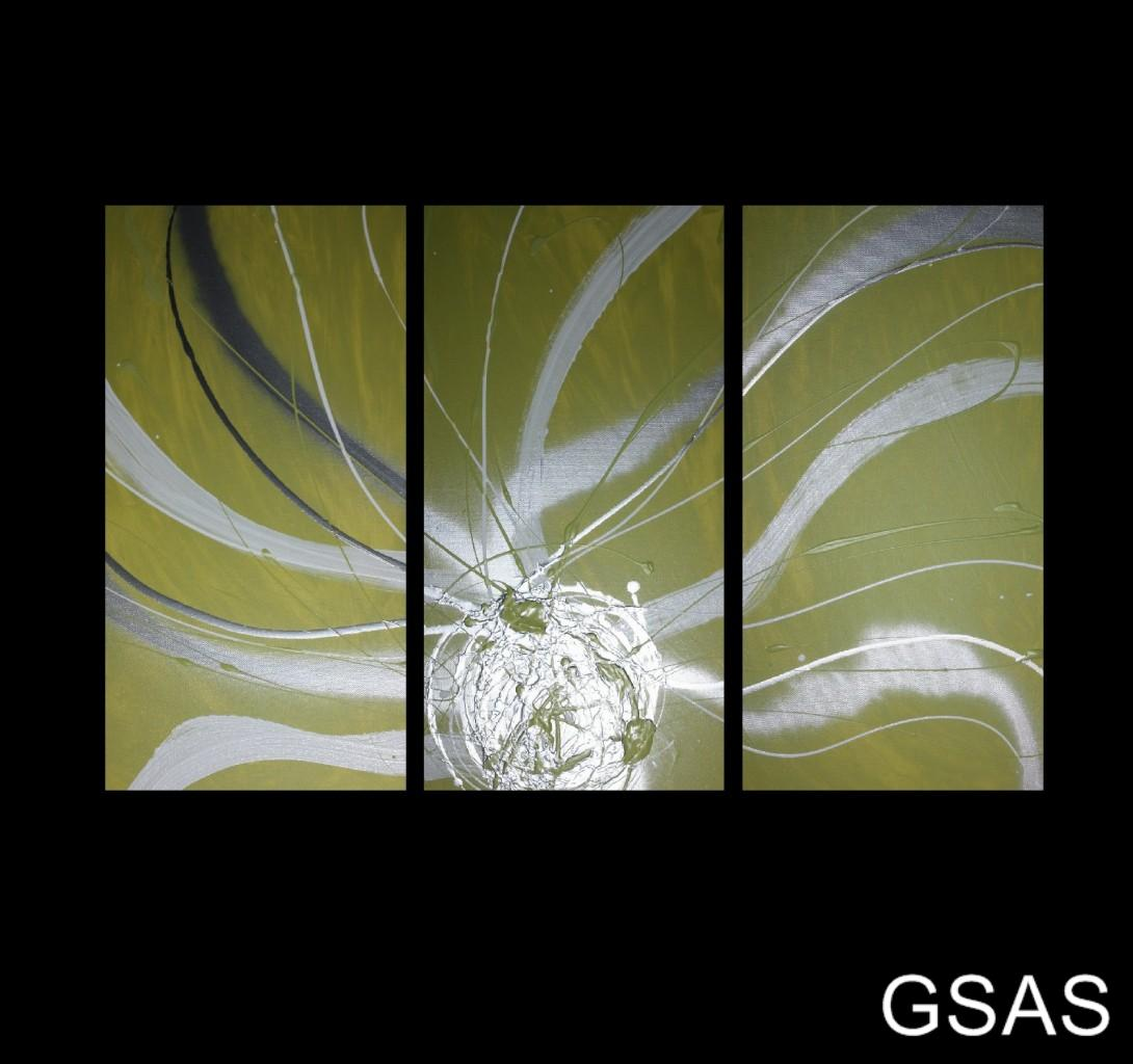 3 Abstract Canvas Painting Lime Green White Silver Modern