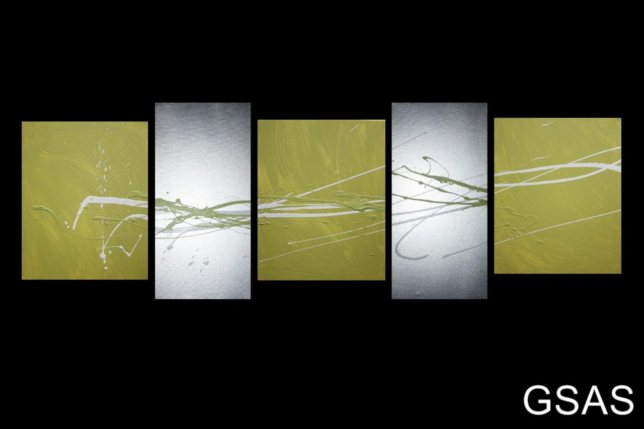 5 Abstract Canvas Painting Lime Green Silver White Wall
