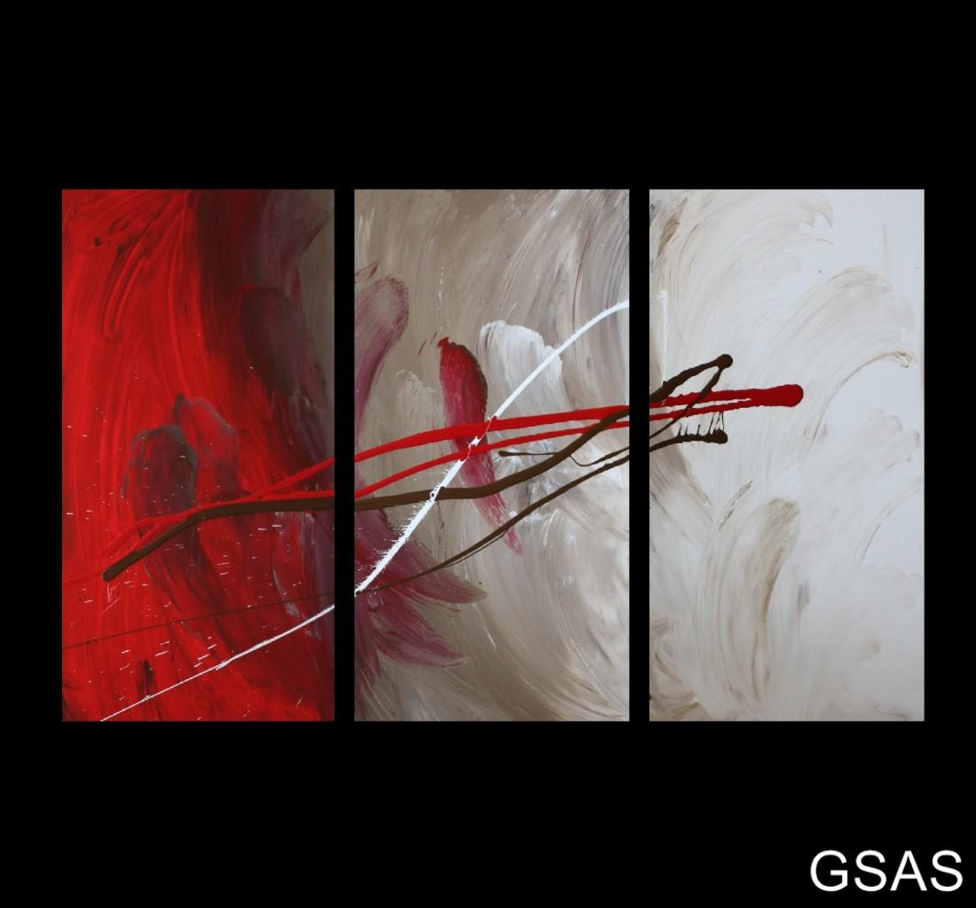 3 Abstract Canvas Painting Red Brown White Modern Wall