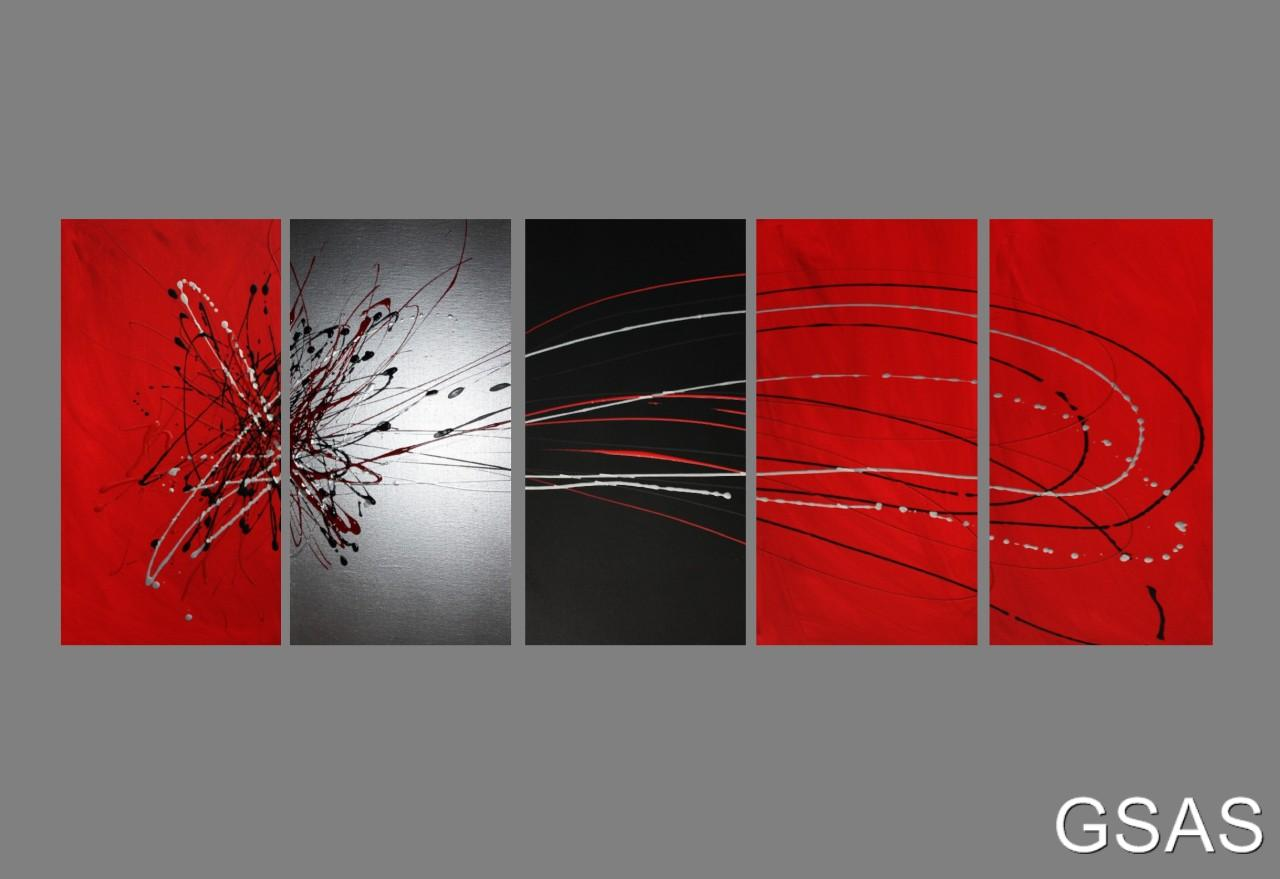 5 abstract canvas painting red black silver modern wall for Red wall art