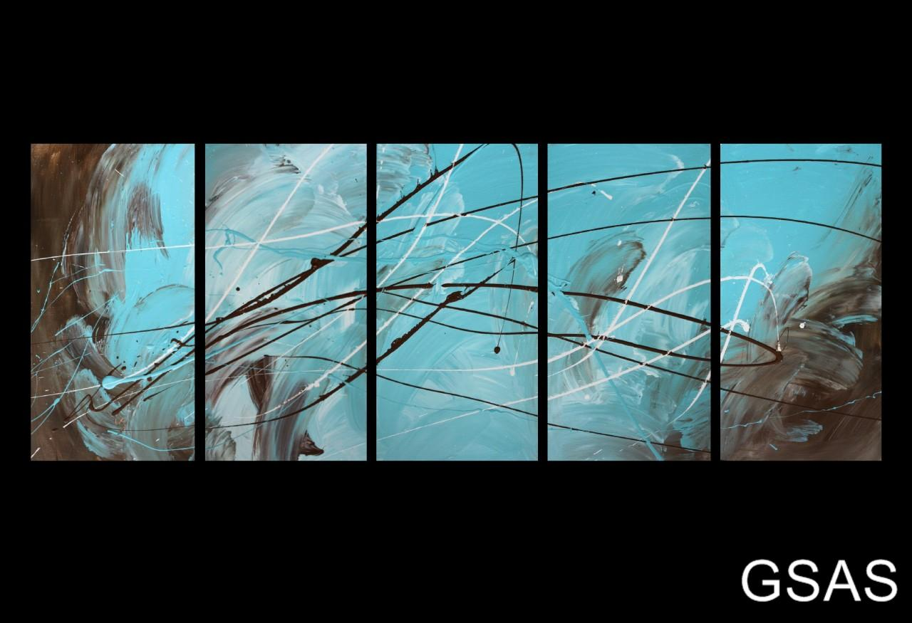 5 abstract canvas painting turquoise brown modern wall for Blue and brown wall art