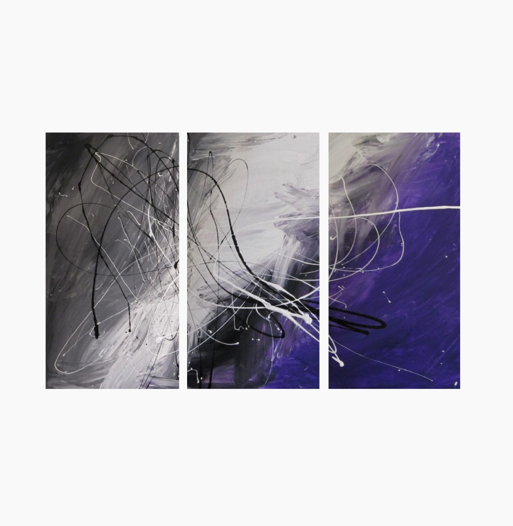 3 abstract canvas painting grey and purple modern wall art. Black Bedroom Furniture Sets. Home Design Ideas
