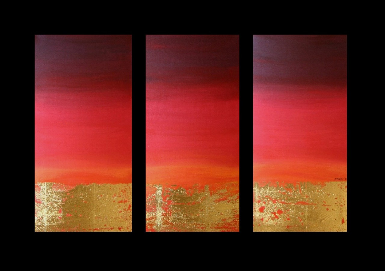 Wall Art Canvas Red : Abstract canvas painting red gold modern wall art artwork