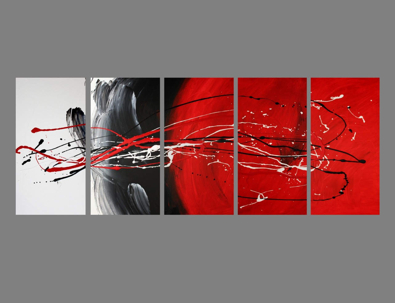 5 abstract canvas painting red black white modern wall for Red wall art