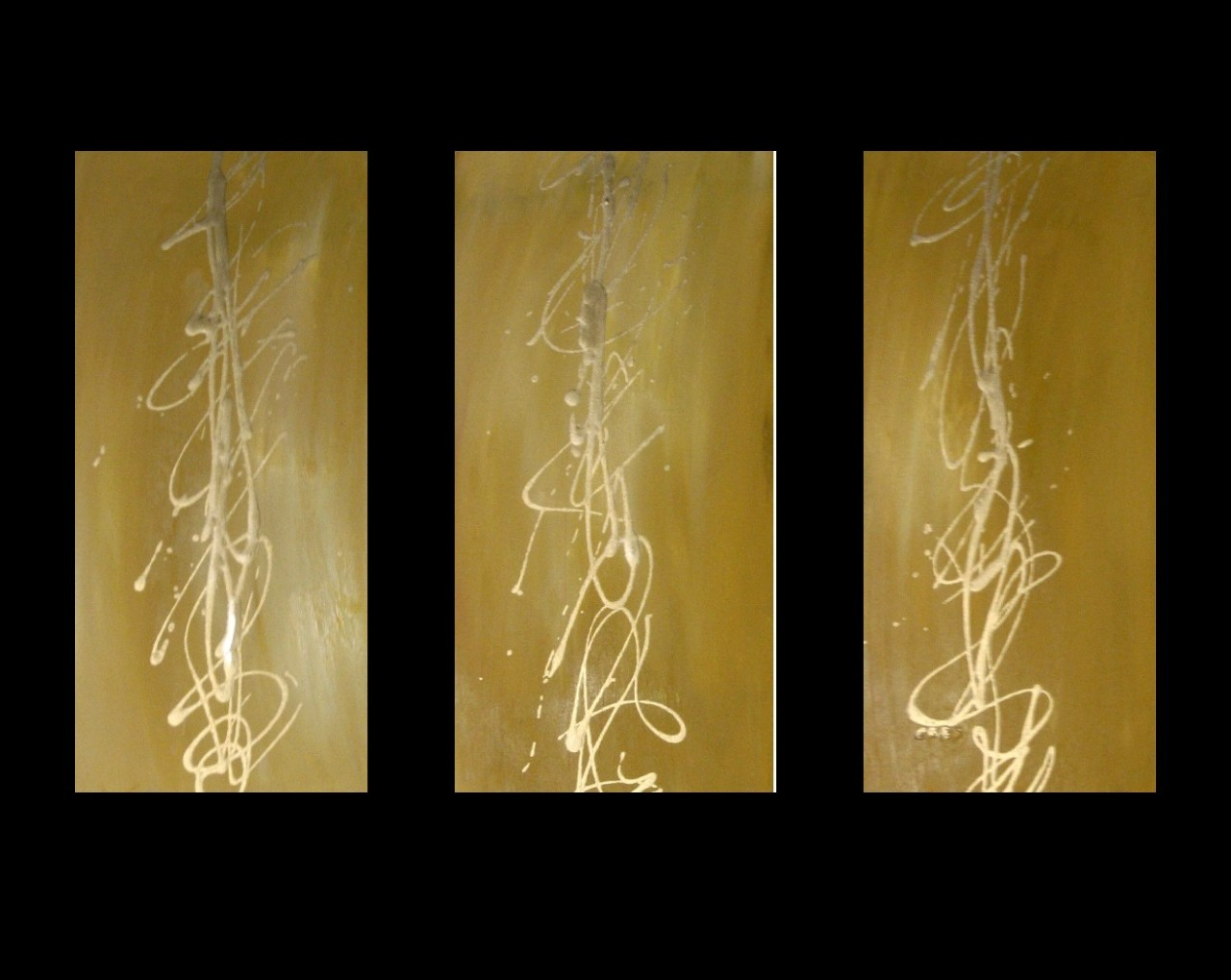 3 abstract canvas painting yellow ochre gold modern wall for Gold wall paint uk