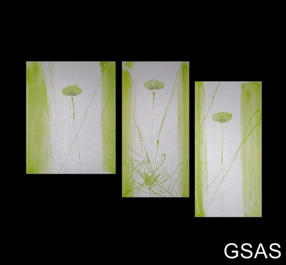 3 abstract canvas painting lime green white modern wall for Lime green wall art