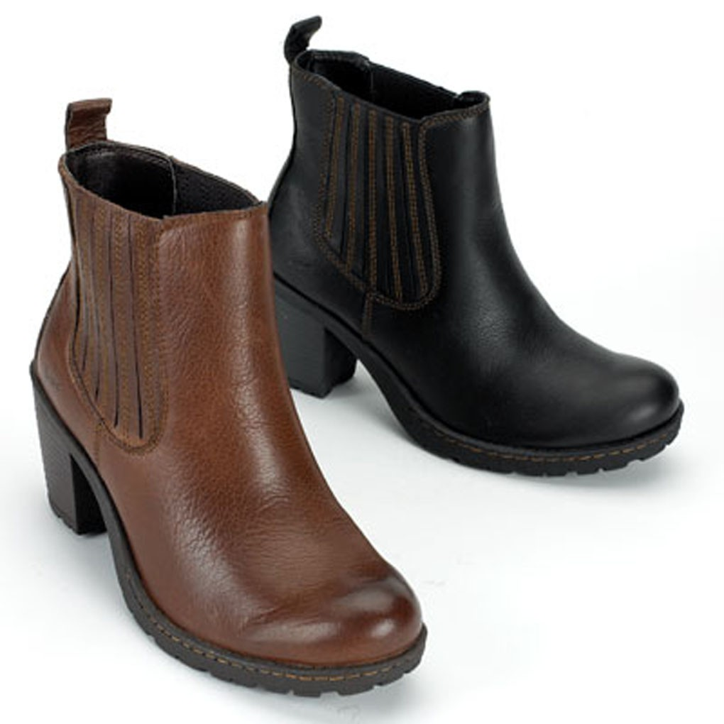 b o c by born leather slip on ankle boots in black and brown