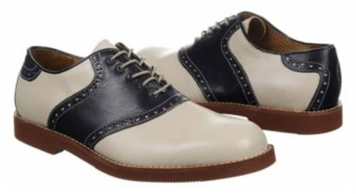 florsheim s leather saddle oxford shoes in bone navy
