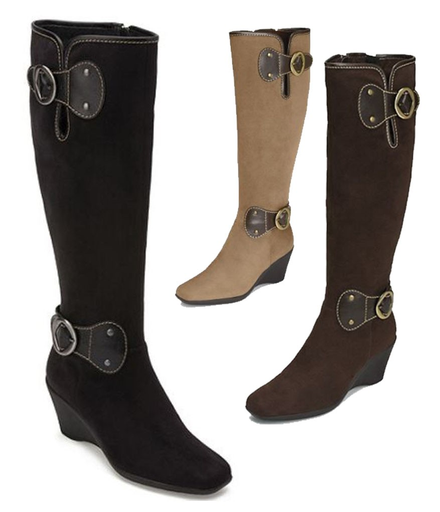 aerosoles suede like fabric comfy wedge boots in black
