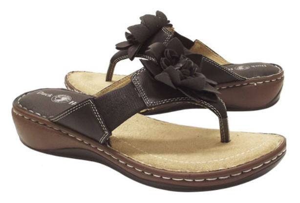 DUCK HEAD Comfy Faux Leather Flowered Thong Sandals in 4 Colors