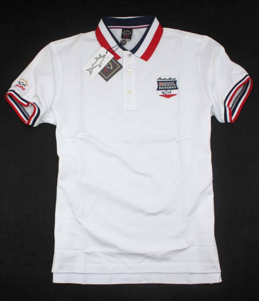 Men 39 s fringe paul shark polo t shirt 06028 white red ebay for Mens shirt with tassels