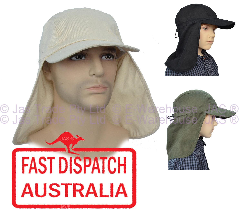 Fishing hat wide bill brim sun protection neck flap cap ebay for Fishing hats sun protection