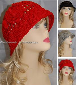 Crocheted-20s-20s-Flapper-Hat-Cloche-Vintage-Style-RED
