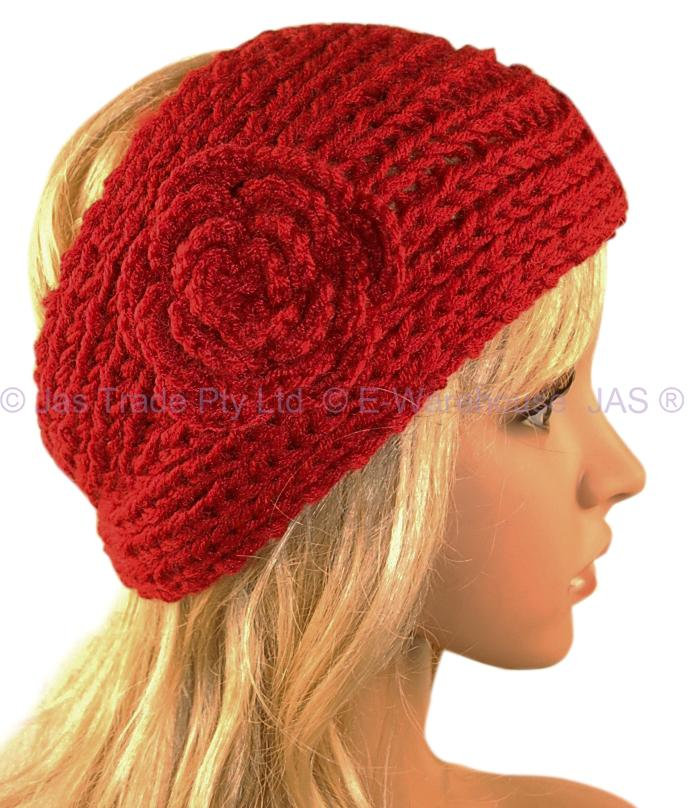 Crochet Hair Ebay : Crochet Headband Hair Band Knitted Flower Button 9 Colr eBay