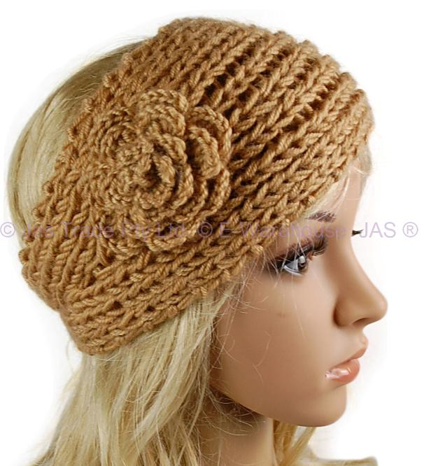 Crochet Headband Hair Band Knitted Flower Button 9 Colr eBay