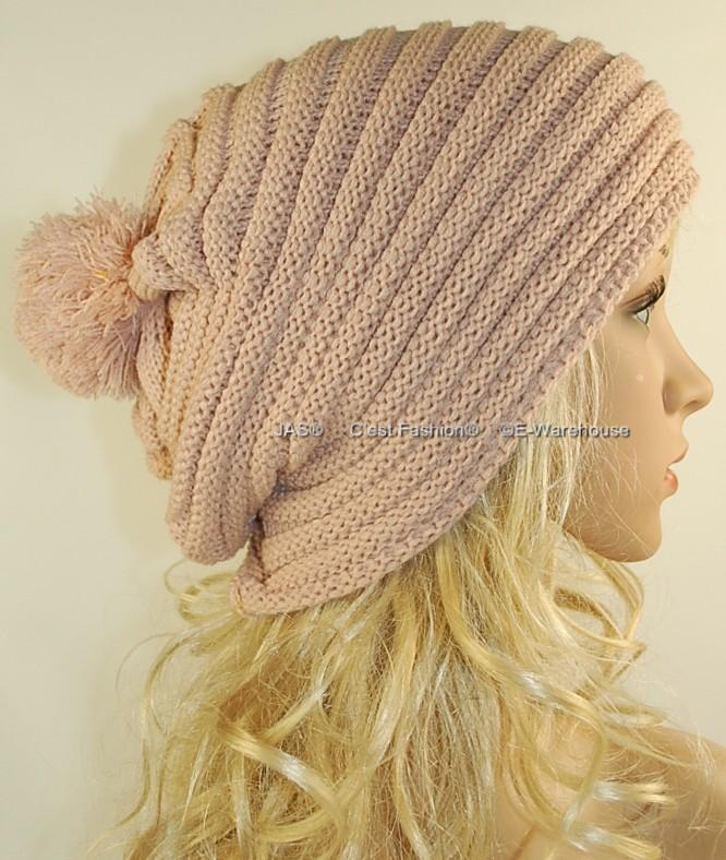 Baggy Beanie Hat Crochet Pattern : Knit Hat Cap Beanie Slouchy Baggy Rasta POM POM Ribbed eBay