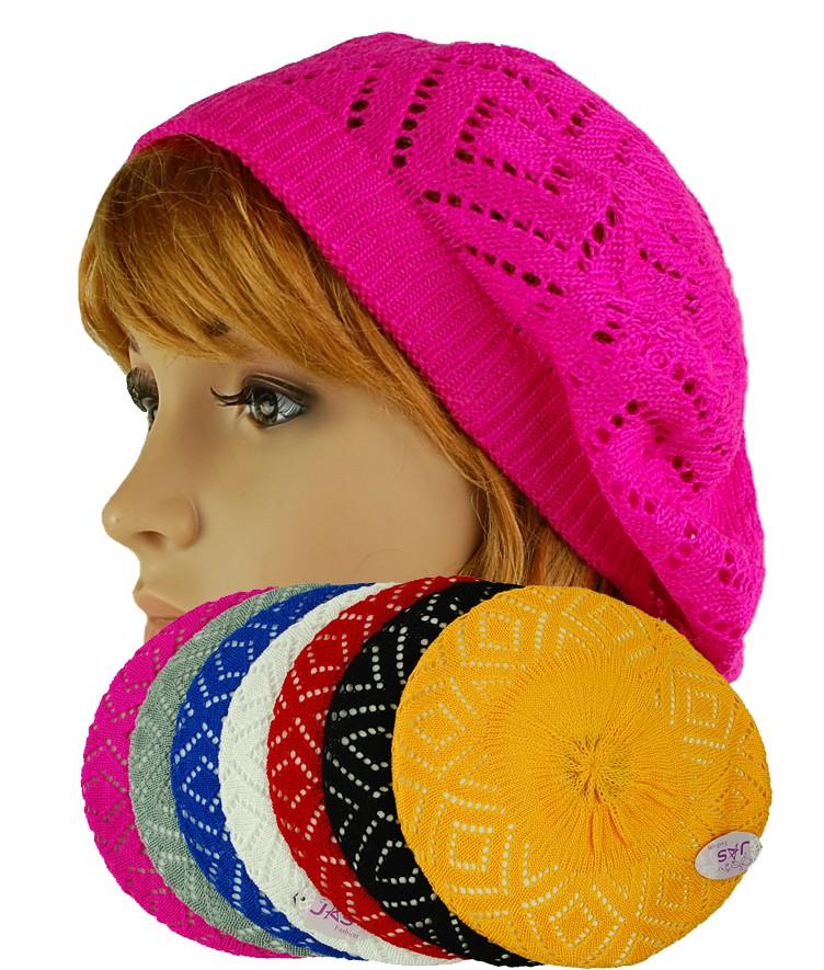 Baggy Beanie Hat Crochet Pattern : 1 Crochet Knit Lace French Beret Beanie Hat Baggy Slouch ...
