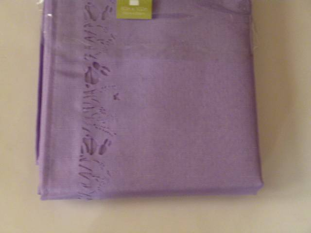 Easter Tablecloth Laser Die Cut Edges Flowers Lavender Or