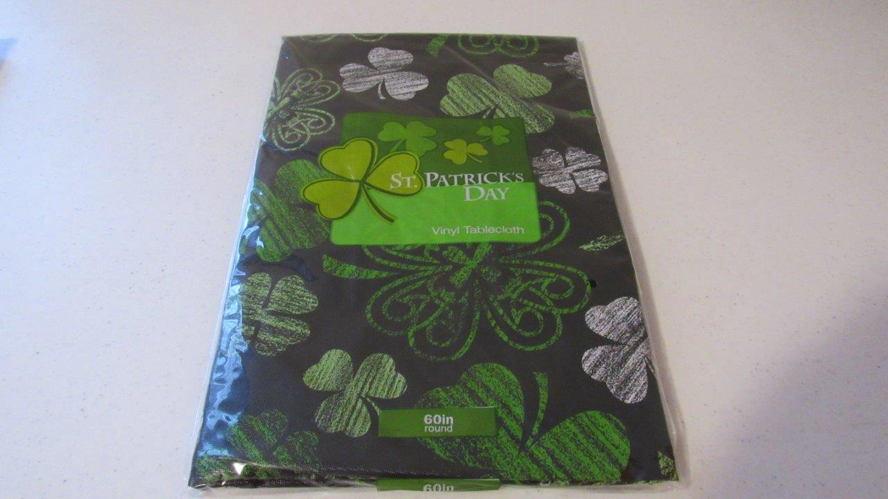 St Patrick S Day Vinyl Tablecloth Green Shamrock Luck Of