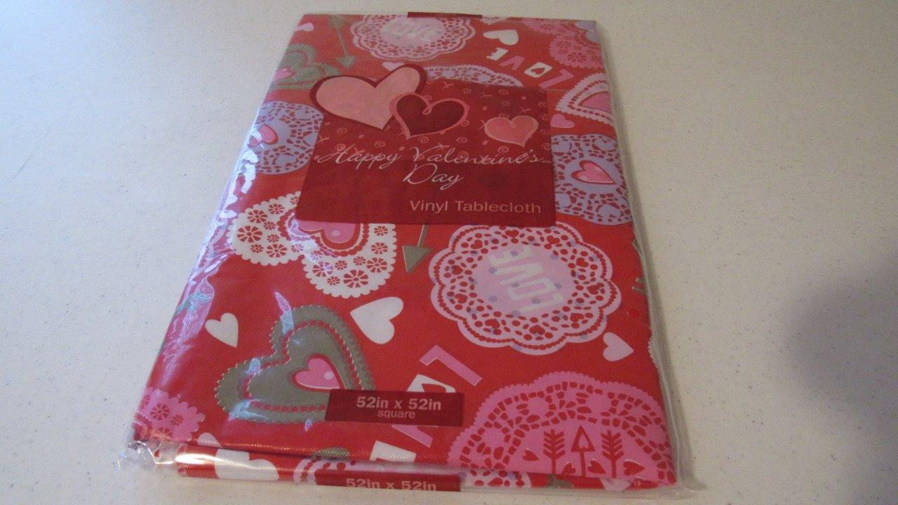 Valentine's Day Vinyl Tablecloth Conversation Hearts Love ...