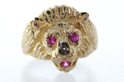 INDIA 22K MANS LION HEAD RING RUBY EYES VERY DETAILED