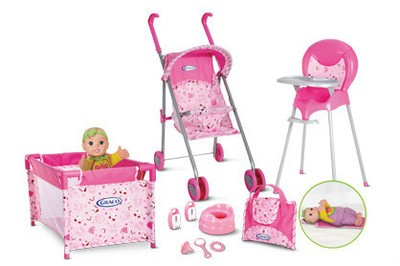 NEW GRACO 10 PC BABY DOLL PLAYSET STROLLER PLAYPEN HIGH