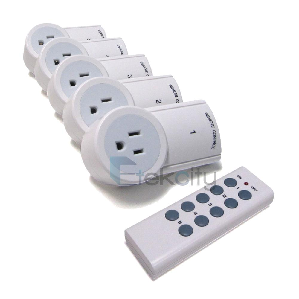 Remote Control Outdoor Wall Lights : 5 Pack Remote Control Electrical Power Outlets Plug Wireless Light Switch Socket eBay