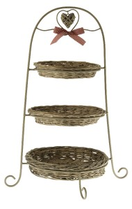 Shabby Chic 3 Tier Rustic Metal Cake Stand With Removable