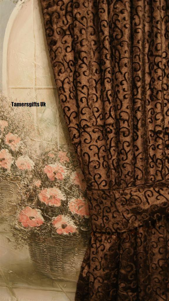 Gold red lilac brown natural lined velvet curtains for Red and gold drapes