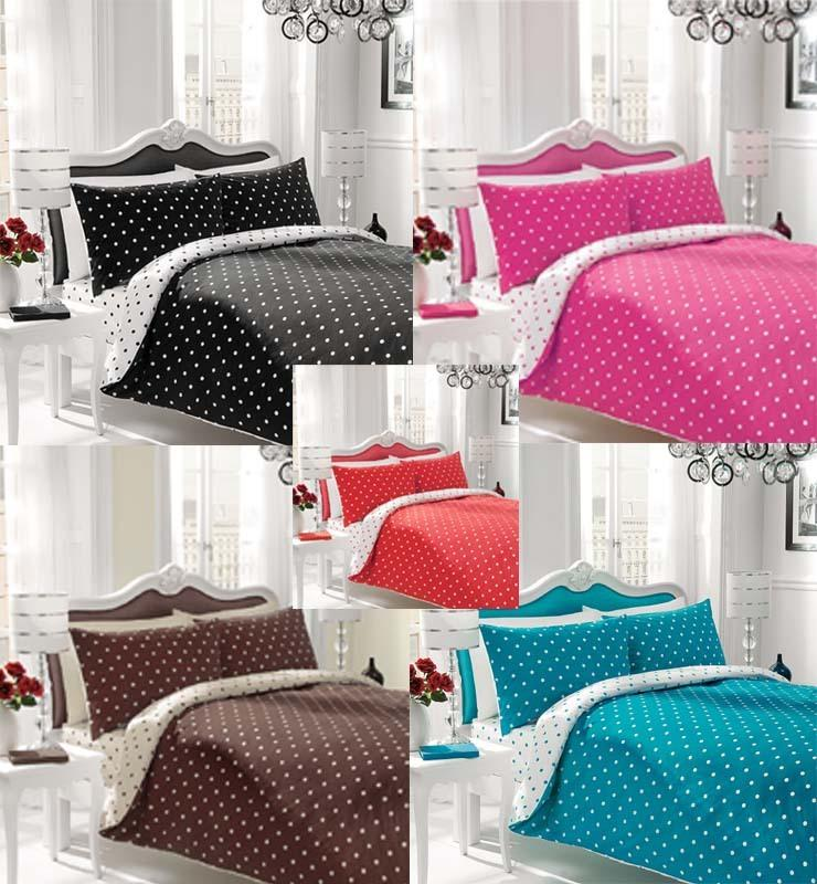 reversible polka dot duvet cover with pillow case quilt cover bedding set ebay. Black Bedroom Furniture Sets. Home Design Ideas
