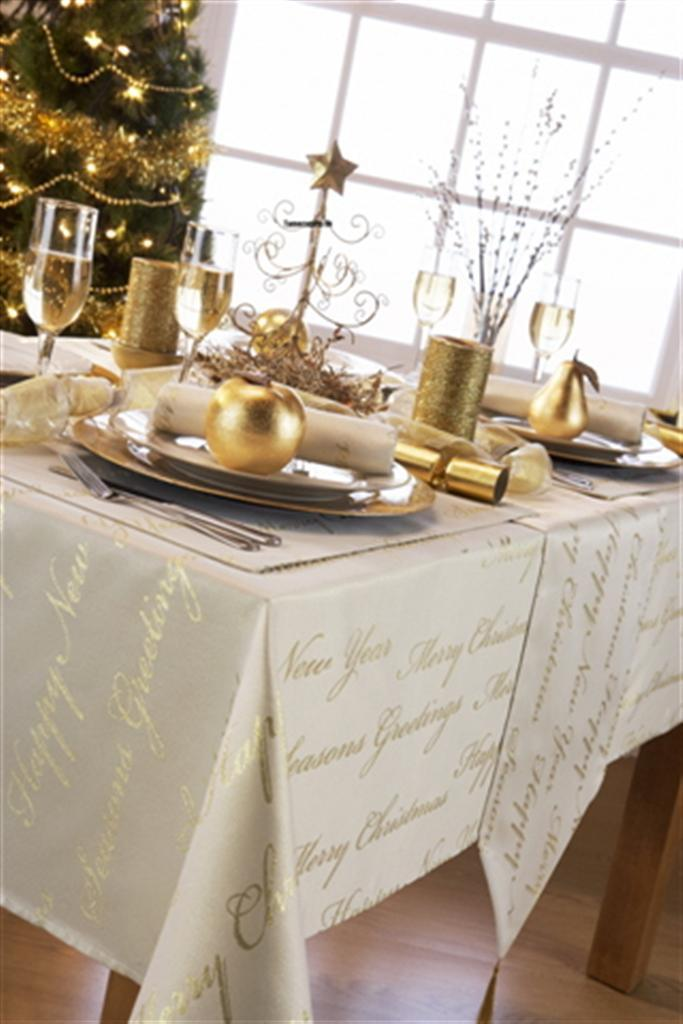 New Christmas Tablecloths Wine Cream White Gold Silver  : 619567256o from www.ebay.com size 683 x 1024 jpeg 72kB