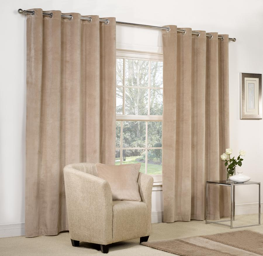 Velvet ringtop lined window door curtains brown red grey Beige curtains