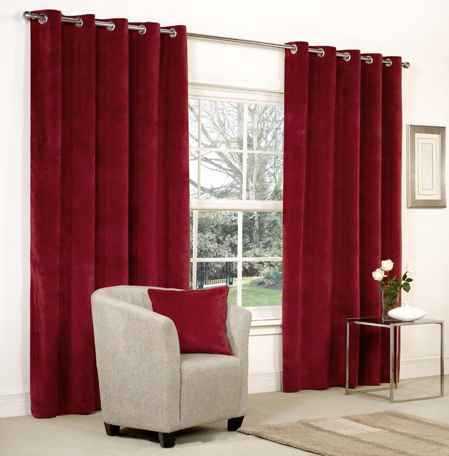 velvet ringtop lined window door curtains brown red grey blue beige ebay. Black Bedroom Furniture Sets. Home Design Ideas