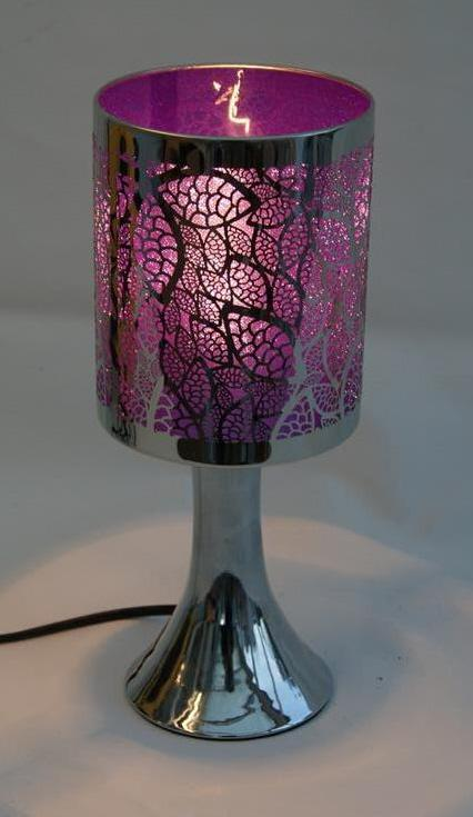 Skyline Leaf Design Table Touch Lamps In Purple Blue