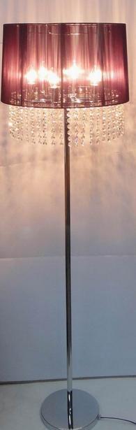 161cm Crystal Chandelier Floor Lamp Black Cream Brown
