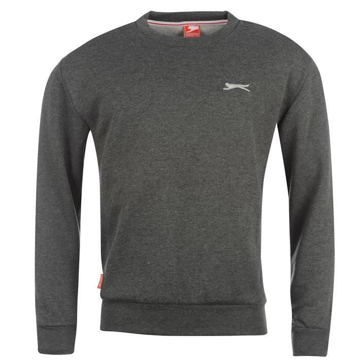 slazenger mens sweatshirt crew neck fleece jumper charcoal grey navy black ebay. Black Bedroom Furniture Sets. Home Design Ideas