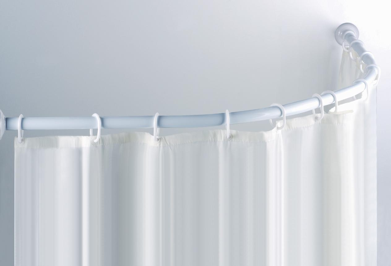 C Shaped Curved White Shower Rail Rod For Corner Showers