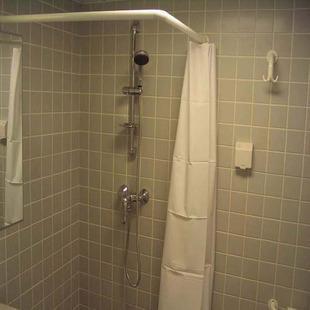 lshaped corner shower rail rod white or chrome ebay. Black Bedroom Furniture Sets. Home Design Ideas