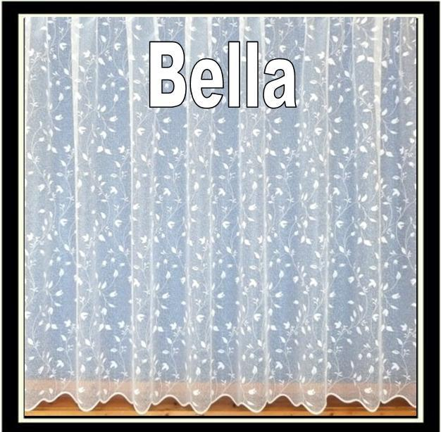 "BELLA PRETTY FLORAL WHITE NET CURTAINS Drop Sizes 27"" to 90& ..."