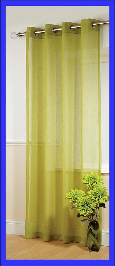Plain Ring Top Eyelet Textured Voile Curtain Panel Drops