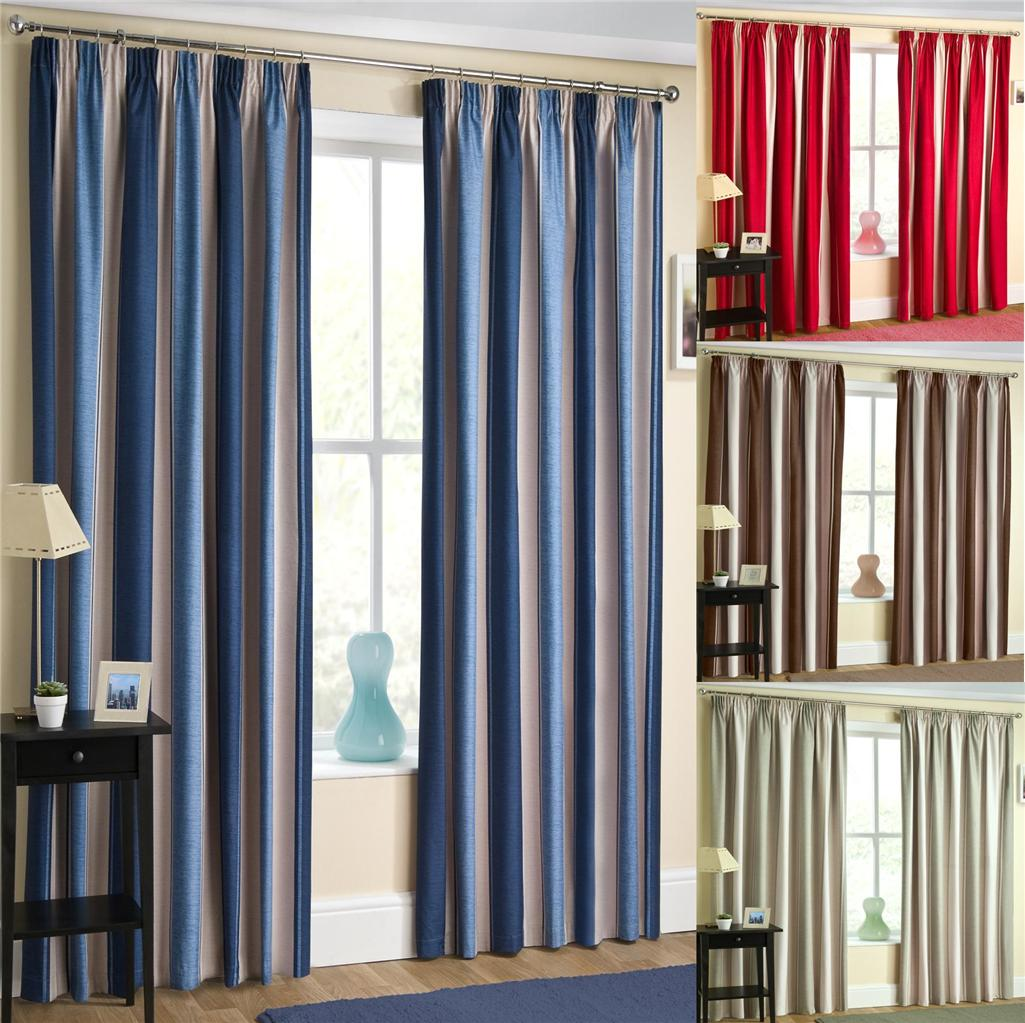 Dixie Thermal Blackout Curtains Tape Top Two Tone Striped Curtains Ebay