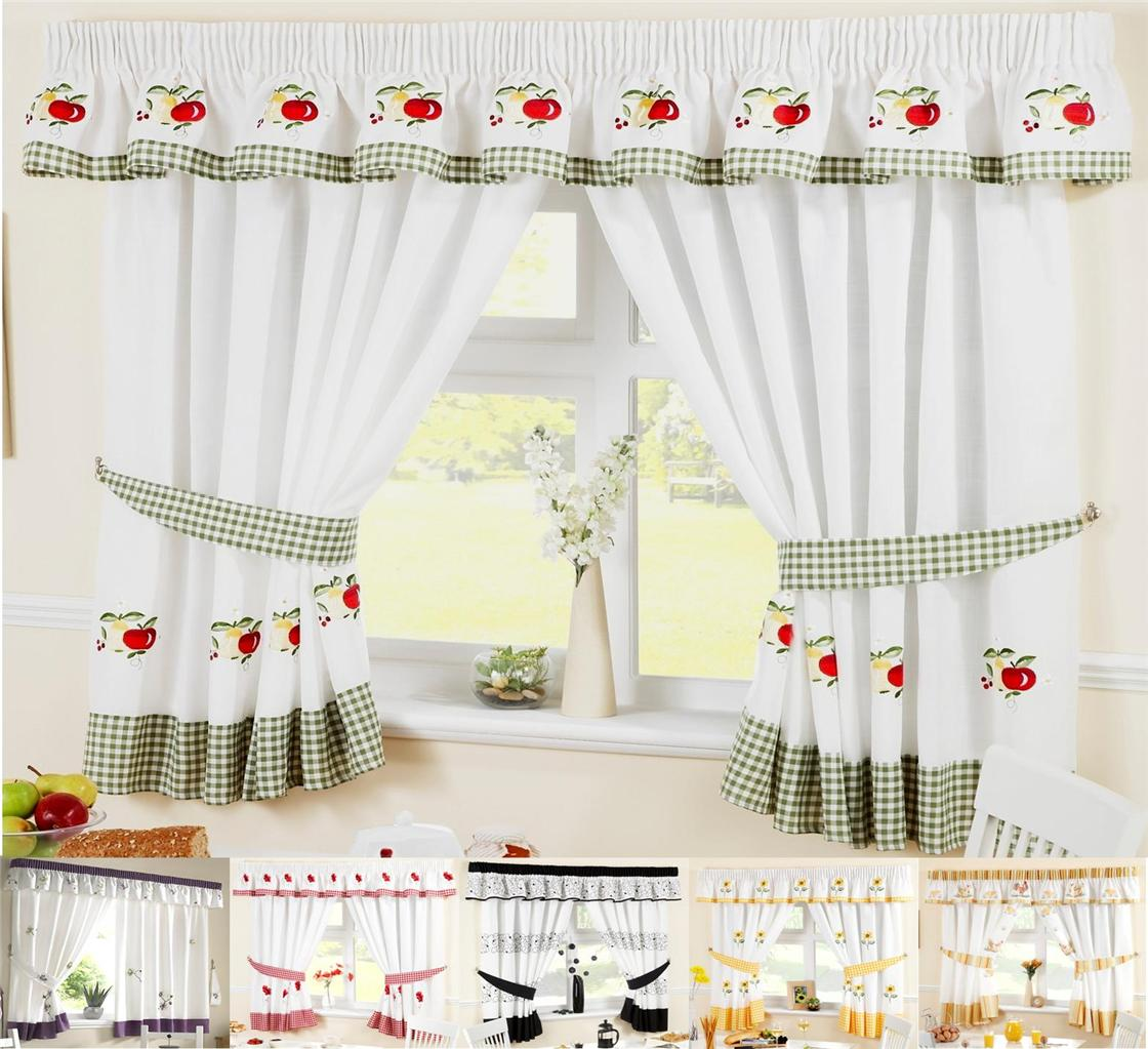 Kitchen window curtains inc free tiebacks many sizes for Kitchen window curtains