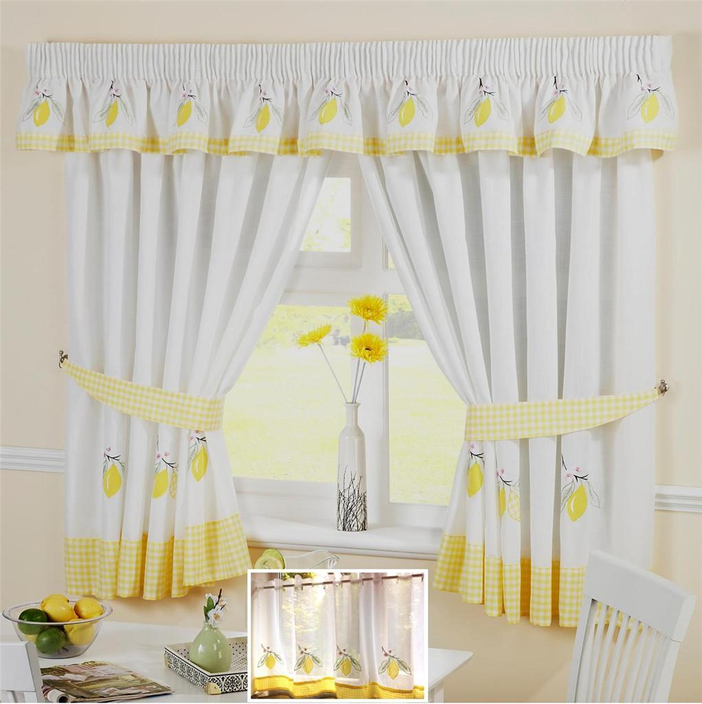 Yellow lemon voile cafe net curtain panel kitchen curtains for Valance curtains for kitchen