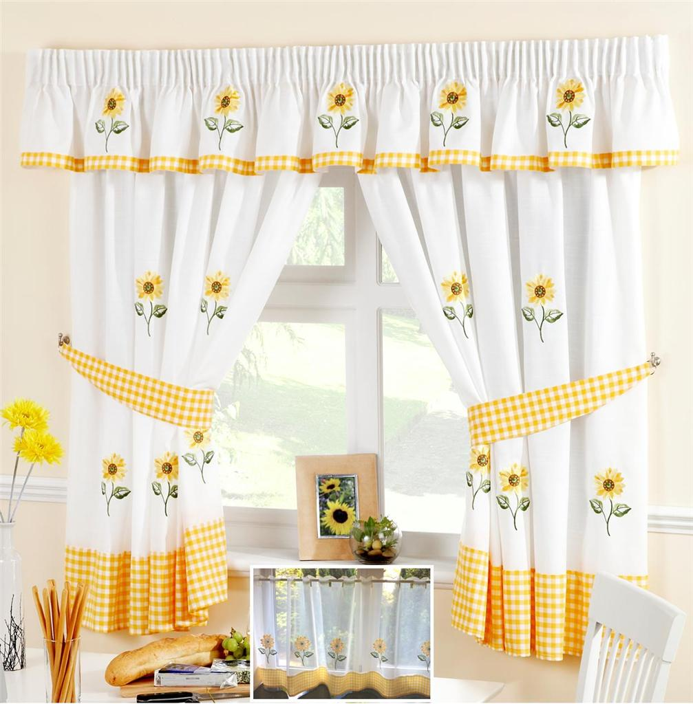 Sunflower Yellow White Voile Cafe Net Curtain Panel Kitchen Curtains