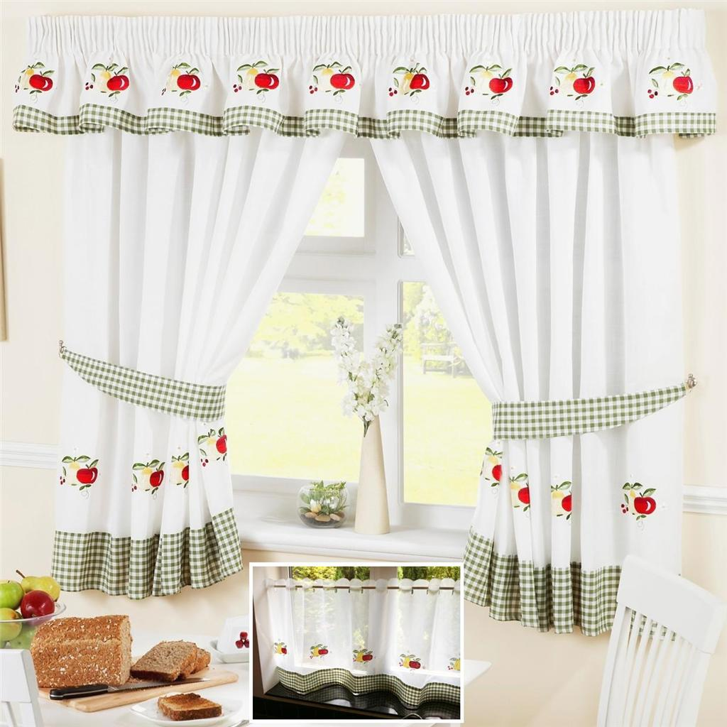 Kitchen Window Curtain Panels Fruit Colourful Green Voile Cafe Net Curtain Panel Kitchen